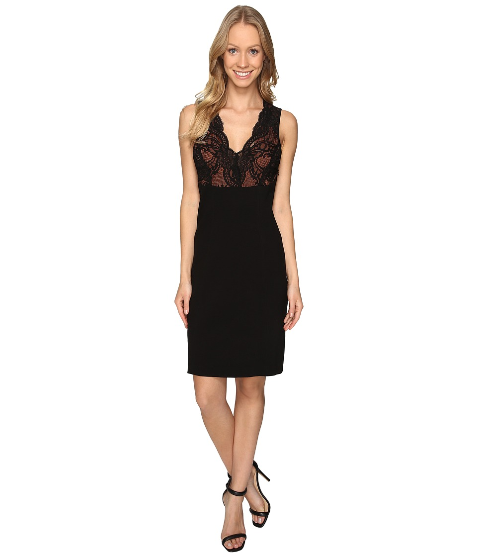 Karen Kane - Lace Detail Sheath Dress (Black) Women's Dress