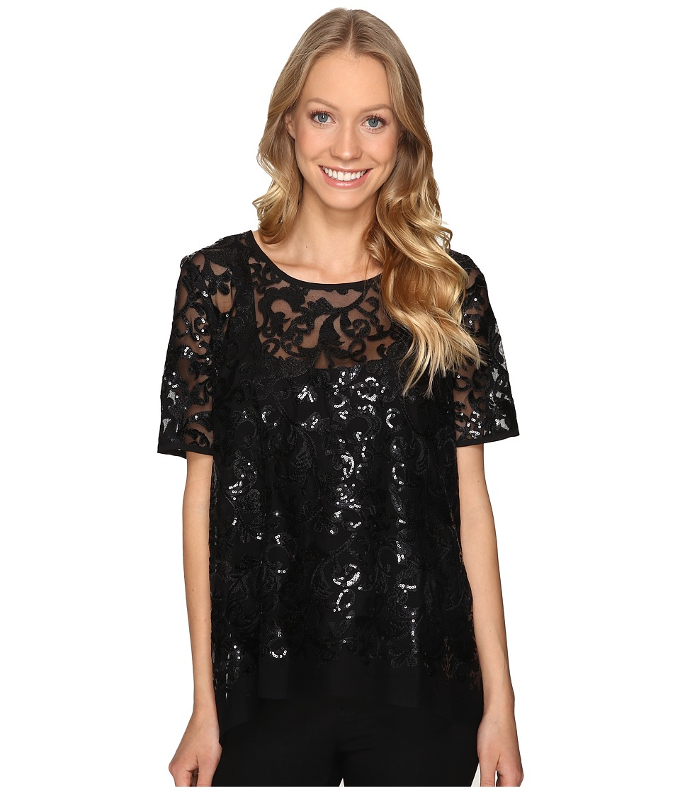 Karen Kane - Sequin Mesh Flare Top (Black) Women's Clothing
