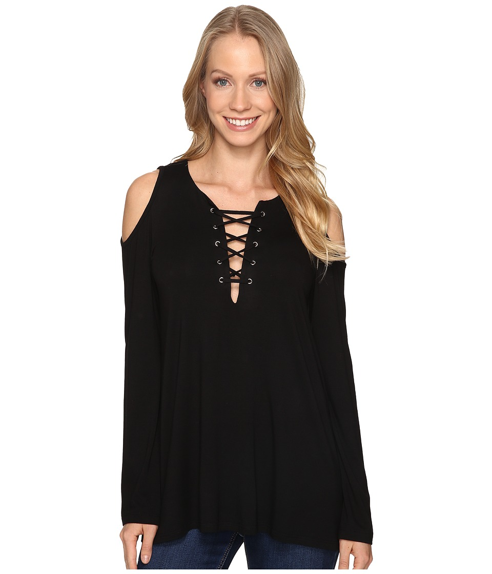 Karen Kane - Lace-Up Cold Shoulder Top (Black) Women's Clothing