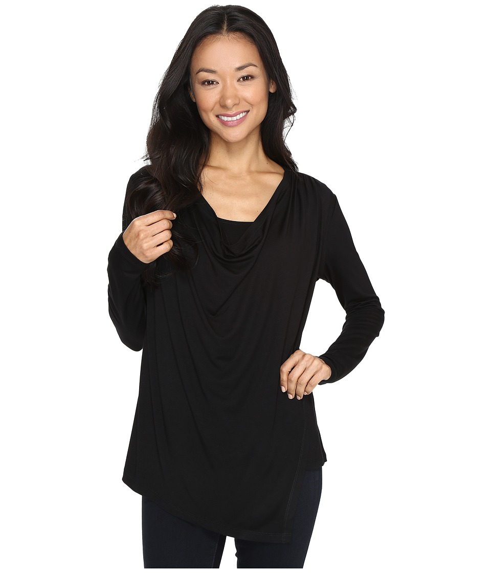 Karen Kane - Asymmetric Drape Top (Black) Women's Clothing