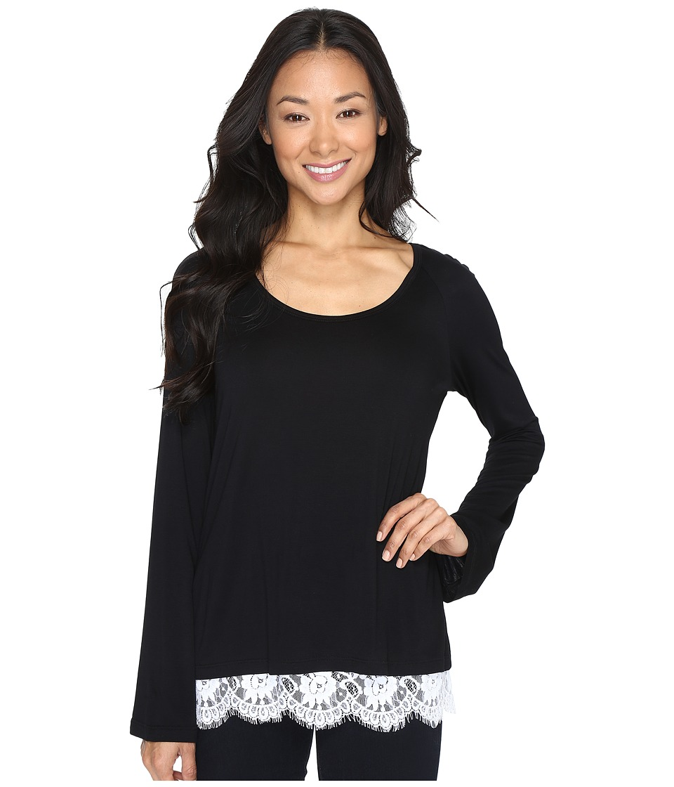 Karen Kane - Lace-Hem Boat Neck Top (Black/Off-White) Women's Clothing