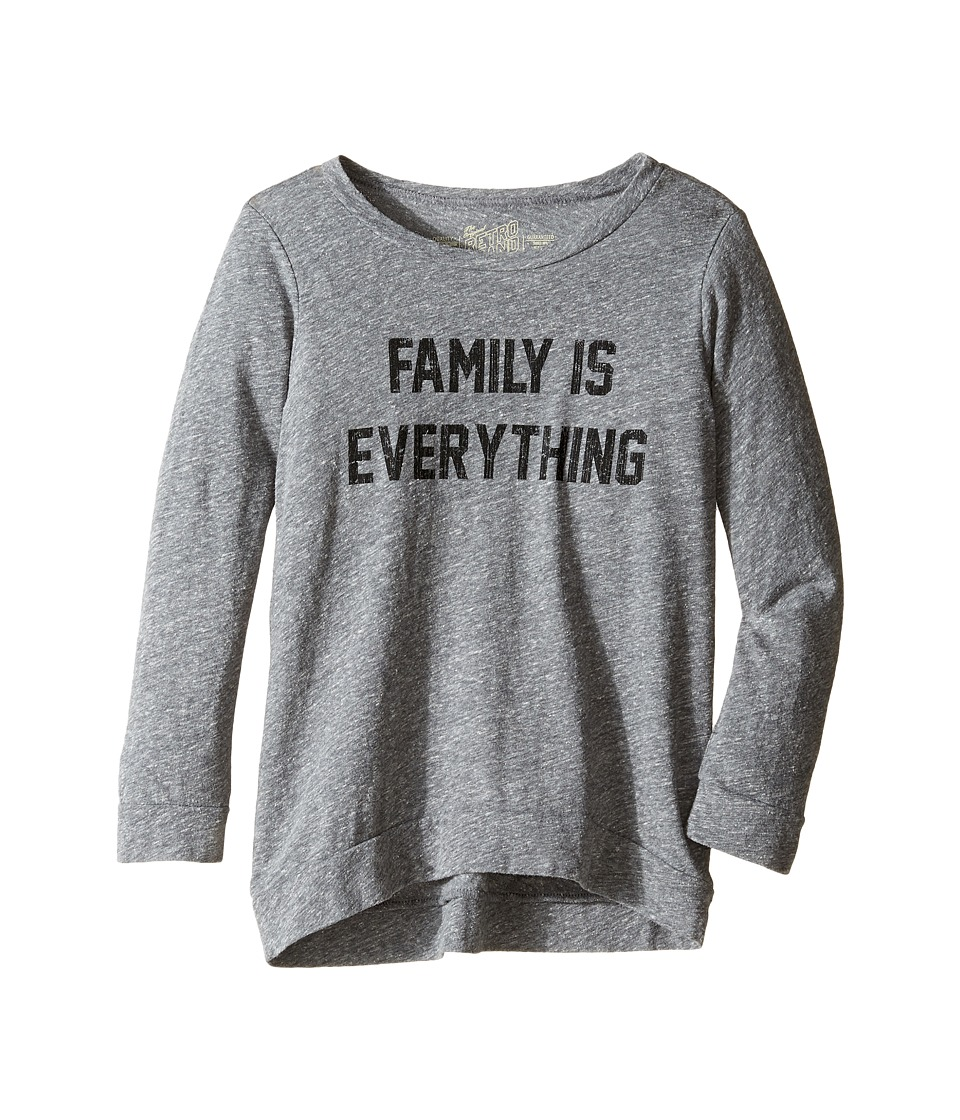 The Original Retro Brand Kids - Family is Everything Tri-Blend Pullover (Big Kids) (Streaky Grey) Girl's Clothing