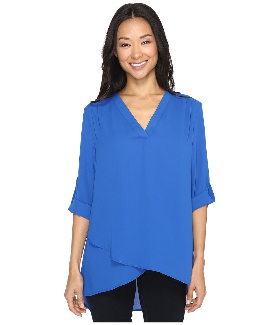 Karen Kane - Deep V Wrap Shirt (Bright Blue) Women's Clothing