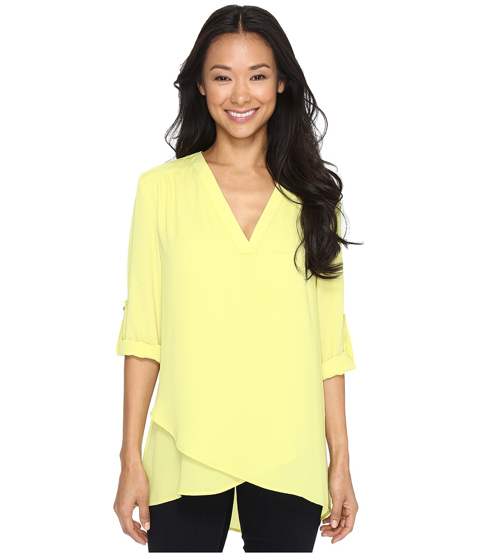 Karen Kane - Deep V Wrap Shirt (Lime) Women's Clothing