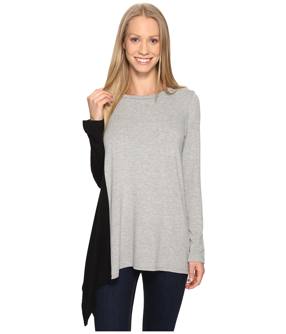 Karen Kane - Asymmetric Color Block Top (Light Heather Grey) Women's Clothing
