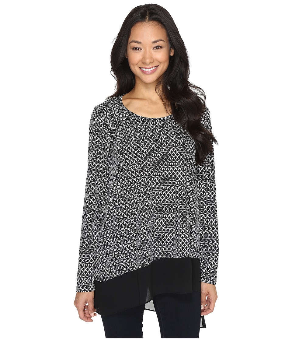 Karen Kane - Asymmetric Contrast Hem Top (Black/Off-White) Women's Long Sleeve Pullover