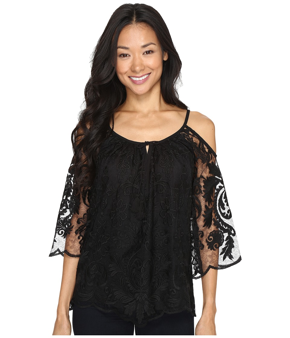 Karen Kane - Cold Shoulder Lace Top (Black) Women's Clothing