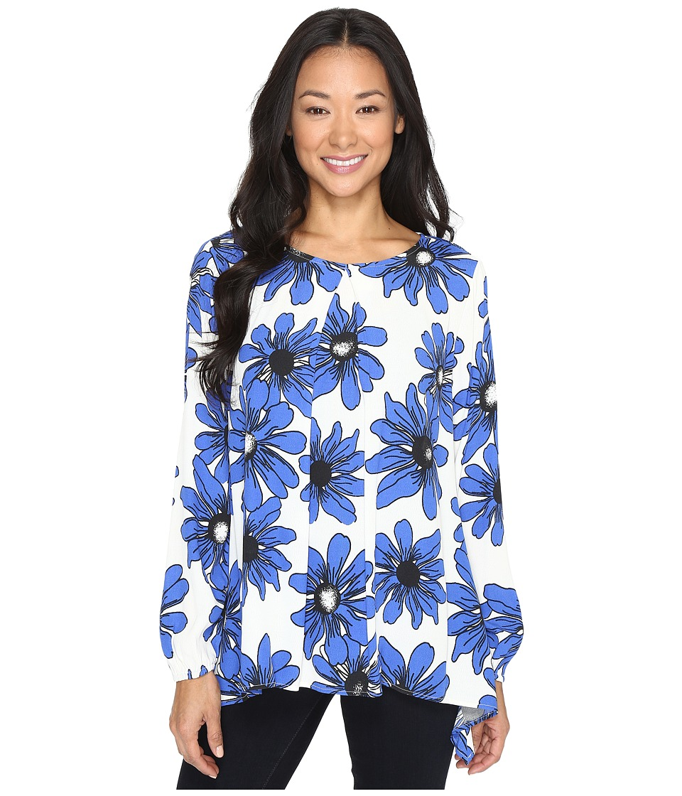 Karen Kane - Blue Daisy Handkerchief Top (Print) Women's Clothing