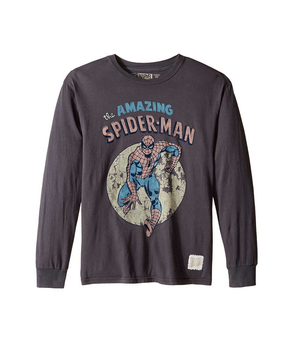 The Original Retro Brand Kids - Long Sleeve Vintage Cotton Spiderman Tee (Big Kids) (Charcoal) Boy's T Shirt