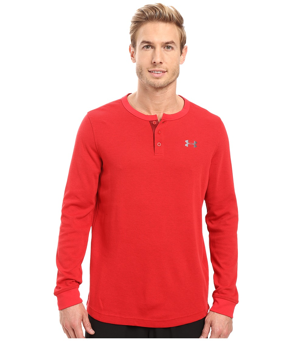 Under Armour - UA Waffle Long Sleeve Henley (Red) Men's Clothing