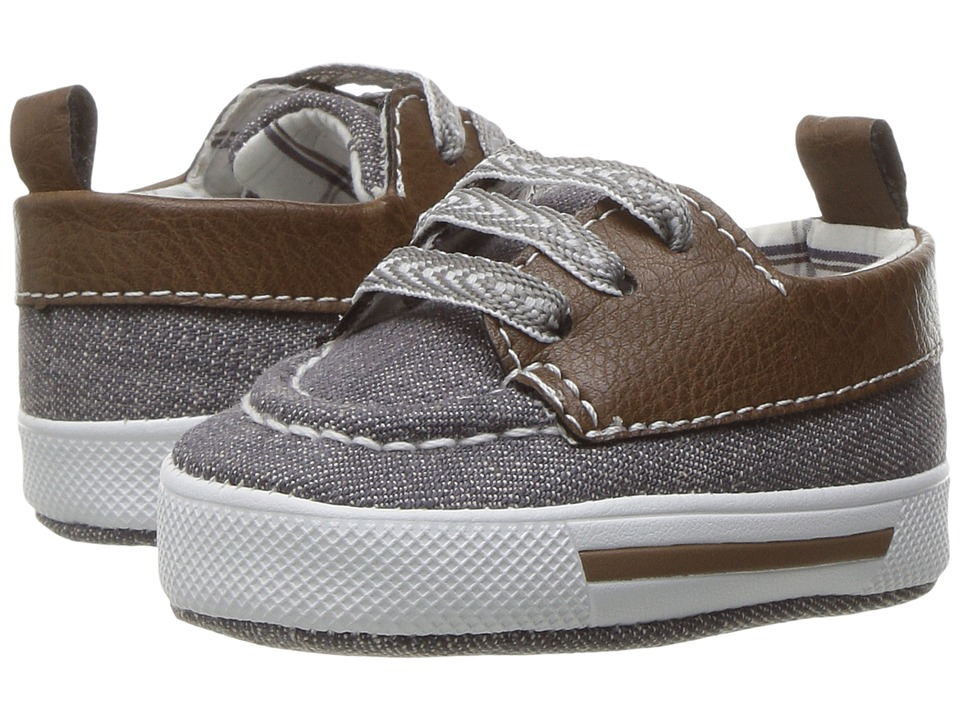 Baby Deer - Canvas Deck Shoe (Infant) (Gray/Brown) Boy's Shoes