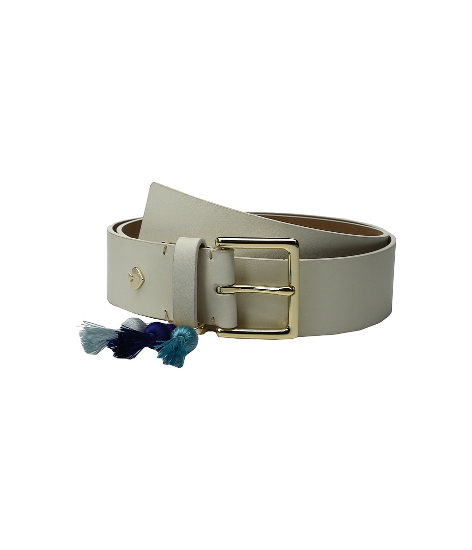 Kate Spade New York - 1 1/2 Calf Belt w/ Triple Tassel (Cream/Blue) Women's Belts