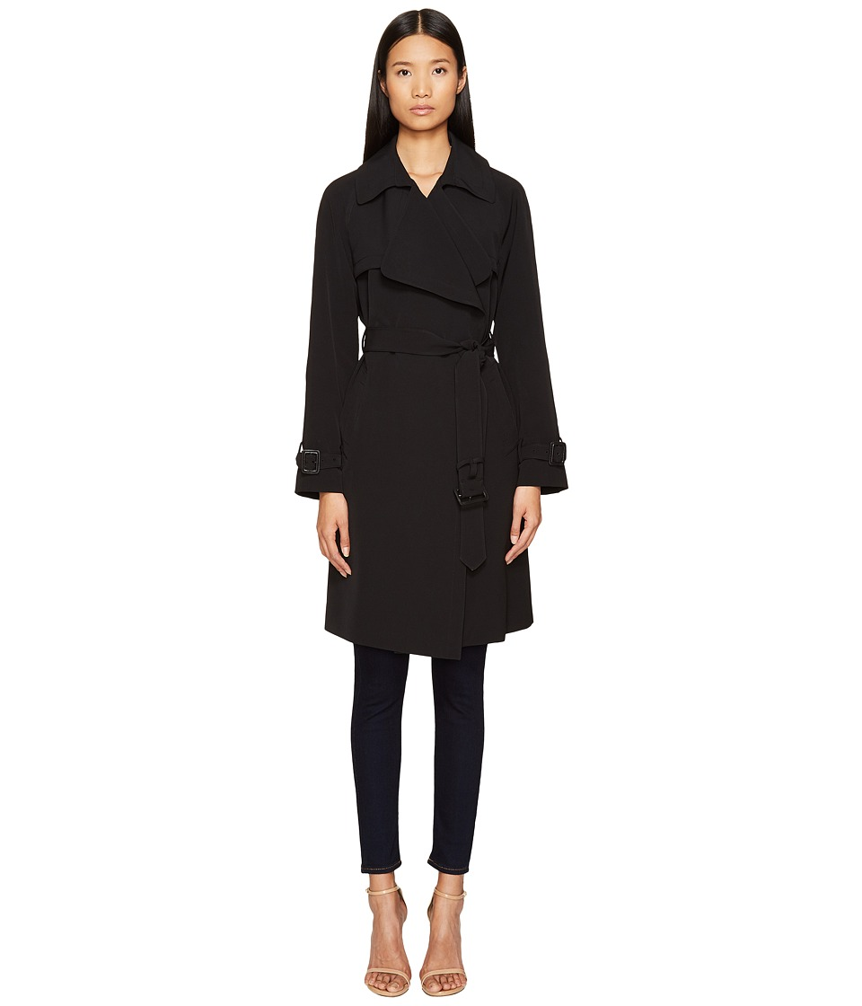 Diane von Furstenberg - Anouk Wide Notched Collar Trench Coat w/ Waist Belt (Black) Women's Coat