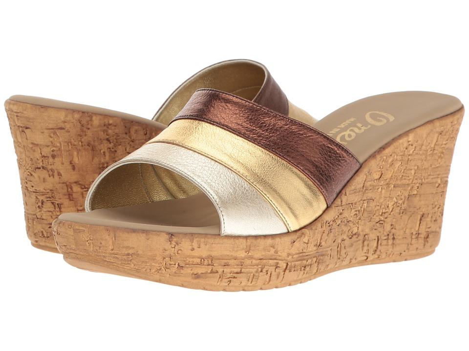 Onex - Balero (Bronze/Gold Leather Combo) Women's Wedge Shoes