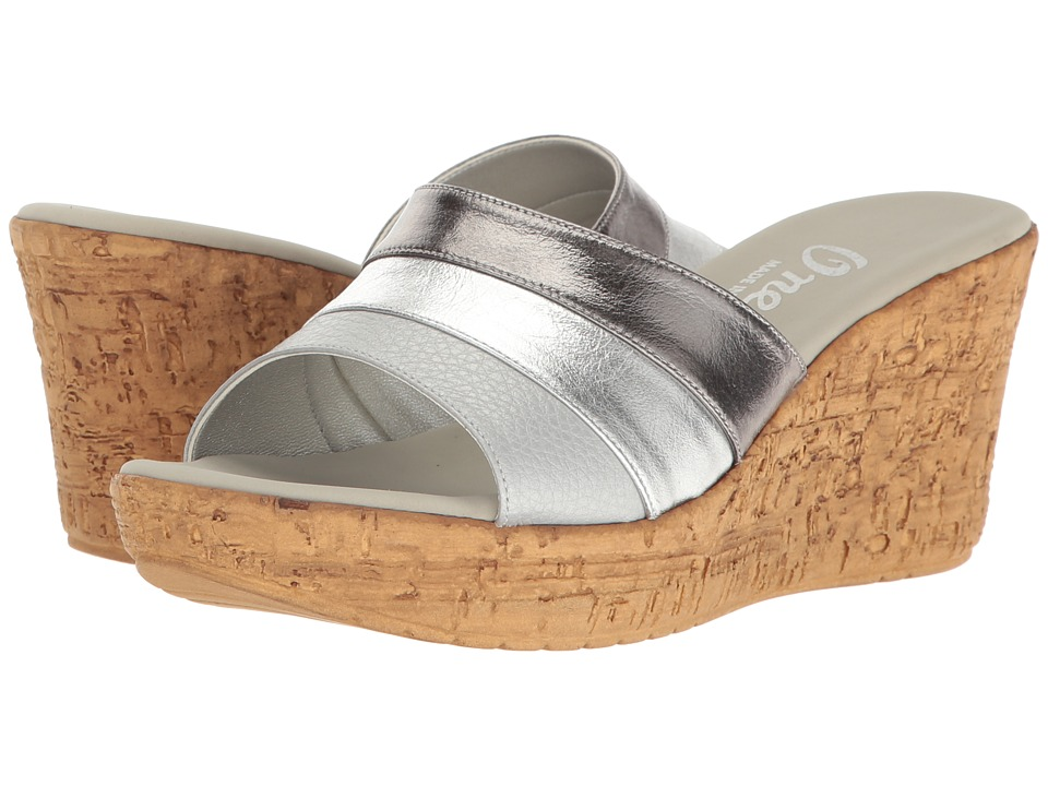 Onex - Balero (Pewter/Silver Leather Combo) Women's Wedge Shoes