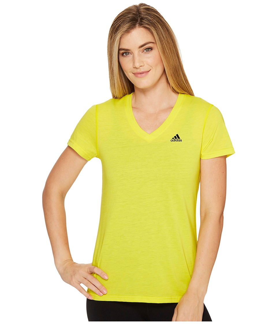 adidas - Ultimate V-Neck Tee (Bright Yellow/Black) Women's Short Sleeve Pullover
