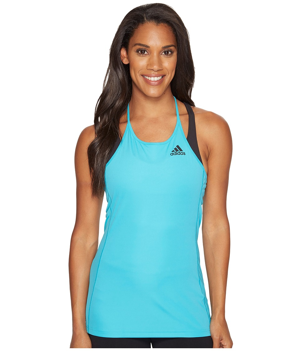 adidas - Designed-2-Move Step Up Tank Top (Energy Blue/Black) Women's Sleeveless