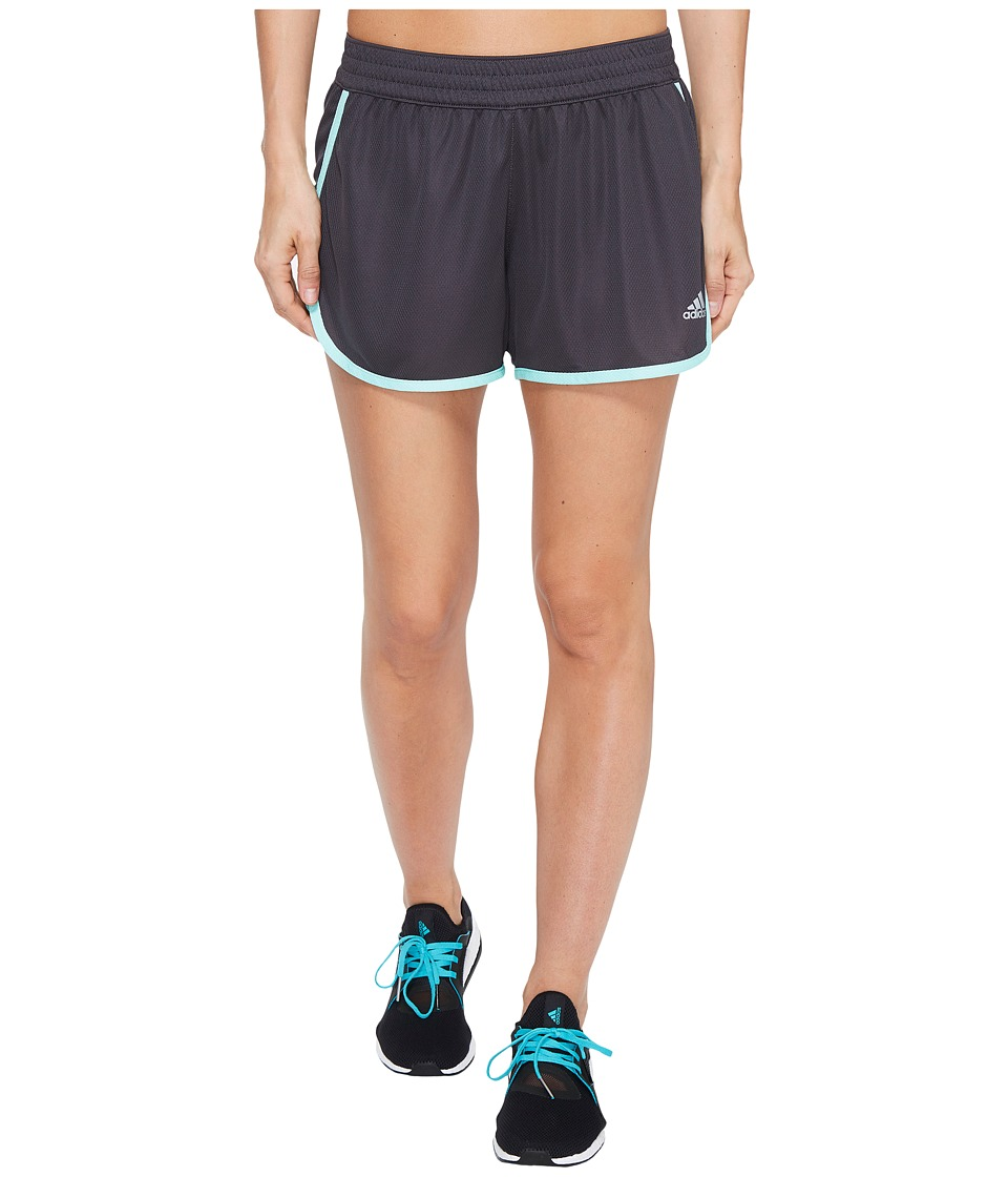 adidas - 100M Dash Knit Shorts (Utility Black/Easy Green/Matte Silver) Women's Shorts