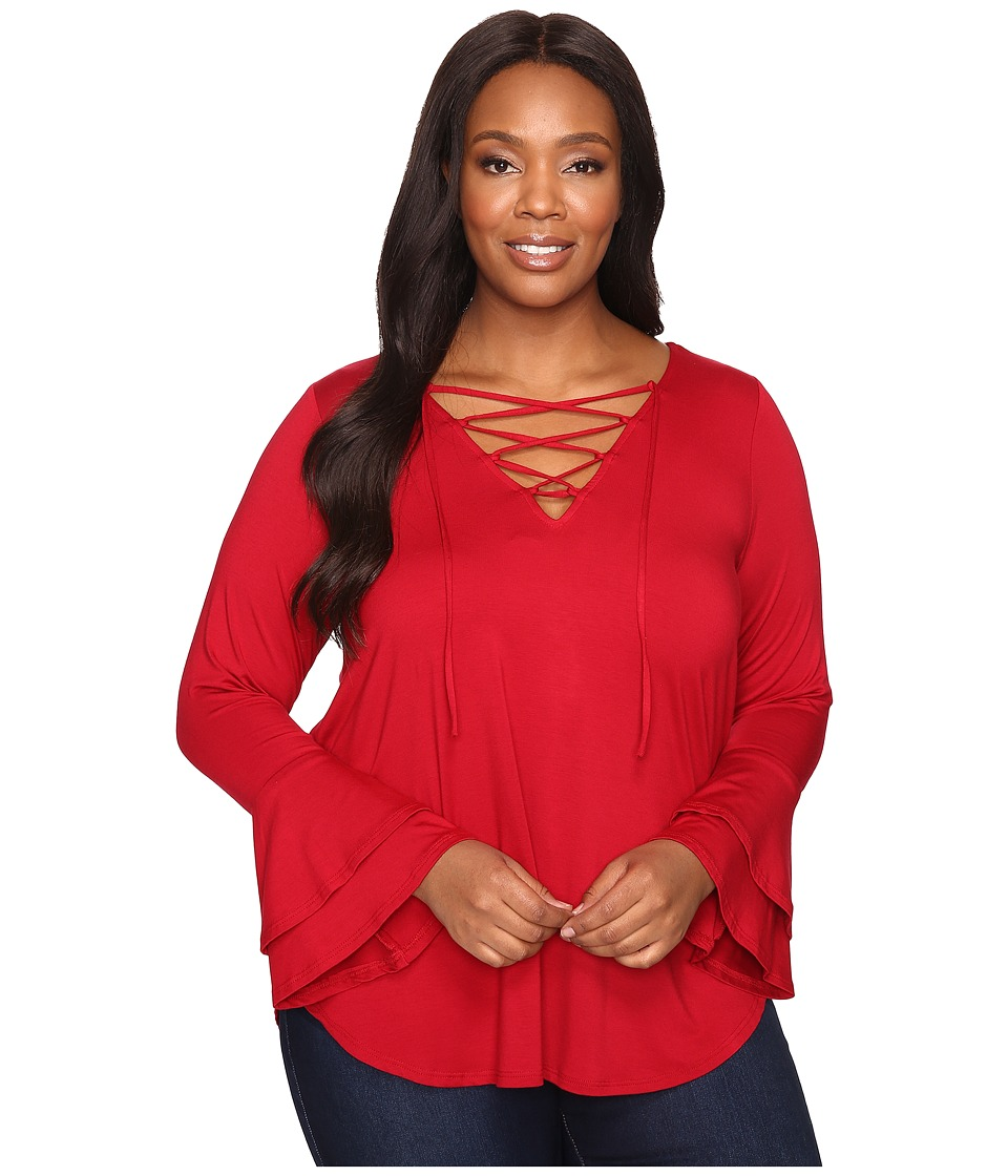 Karen Kane Plus - Plus Size Flare Sleeve Lace-Up Top (Red) Women's Clothing