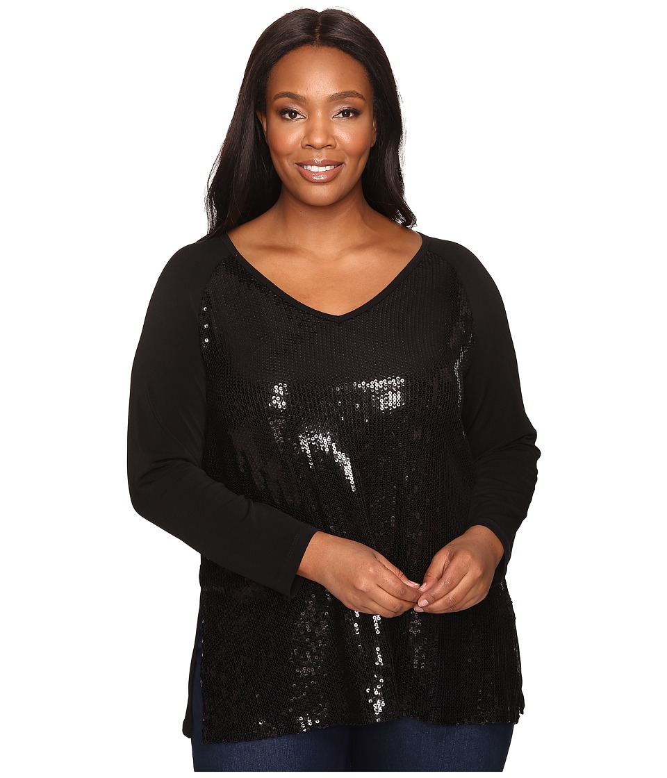 Karen Kane Plus - Plus Size V-Neck Sequin Top (Black) Women's Clothing