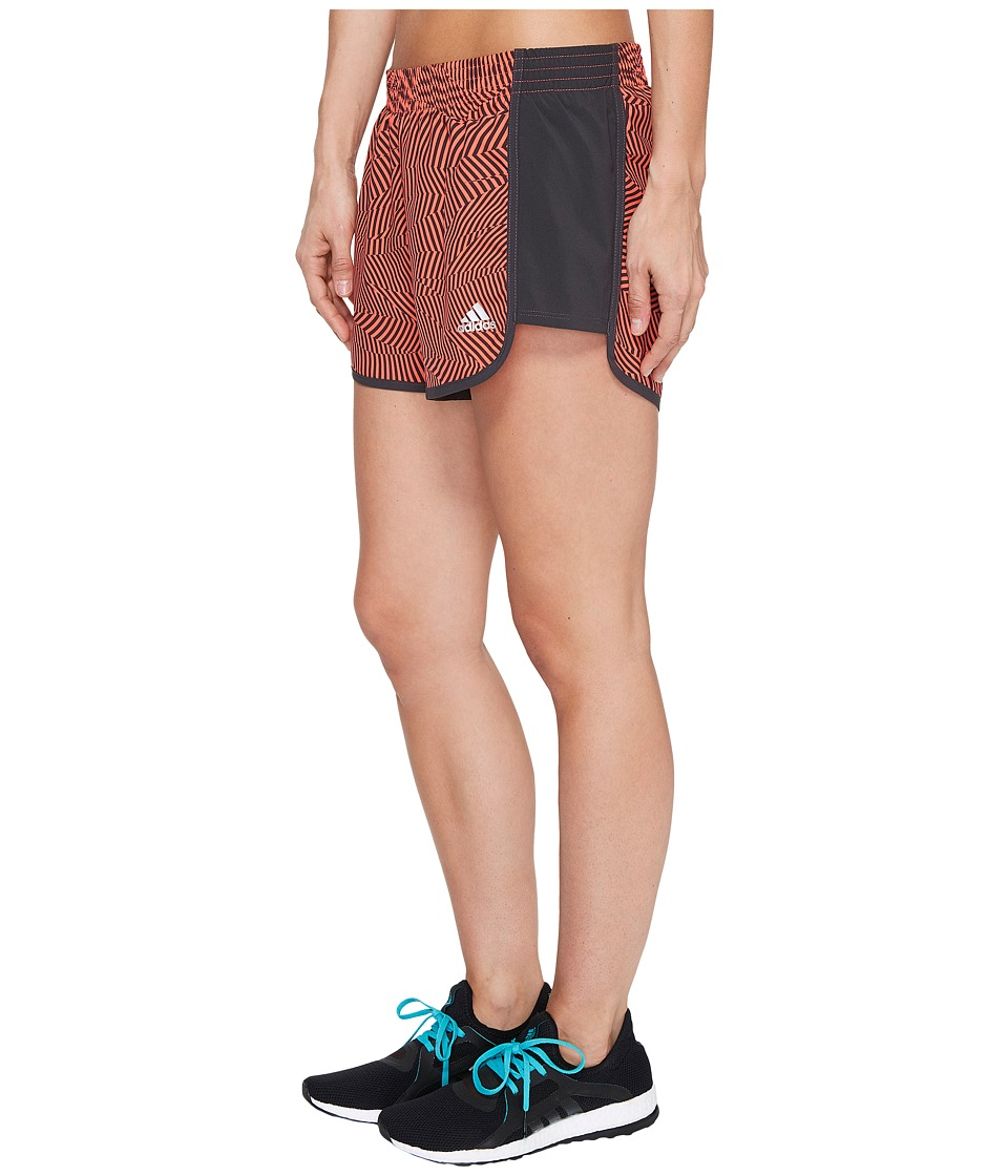 adidas - Energy Print 100M Dash Woven Shorts (Easy Coral Print/Matte Silver) Women's Shorts