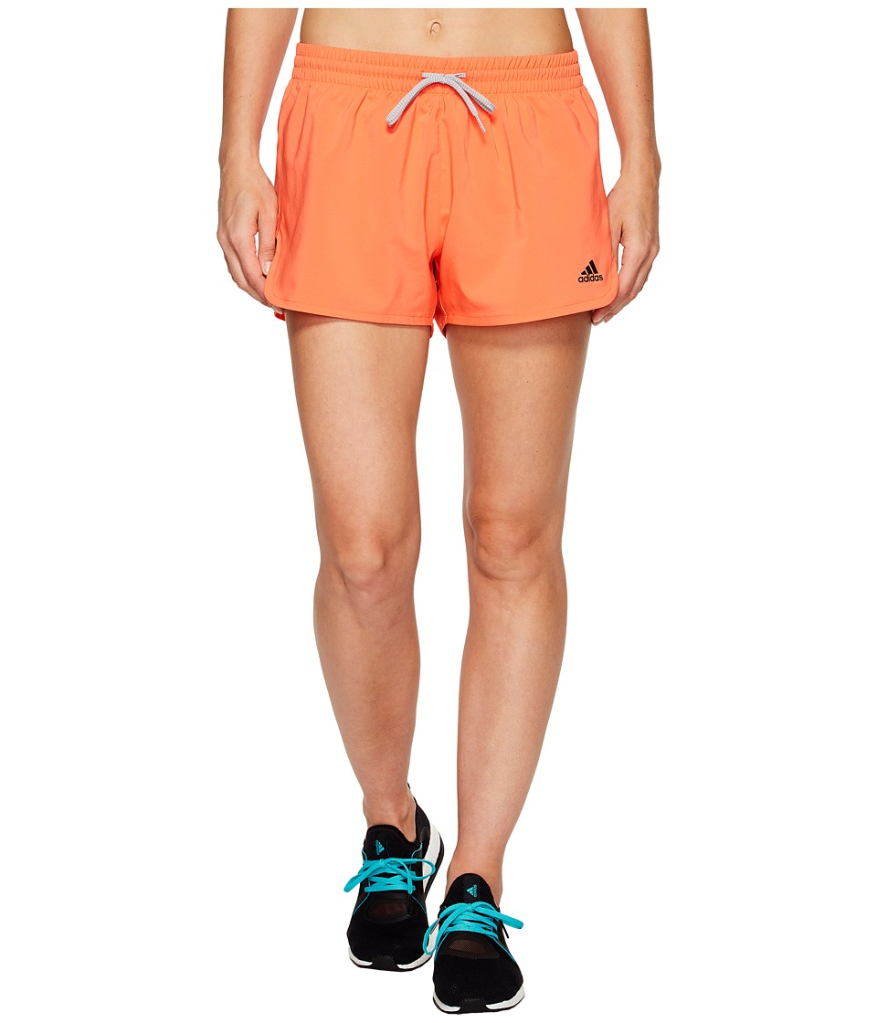 adidas - Woven Slit Shorts (Easy Coral/Black) Women's Shorts