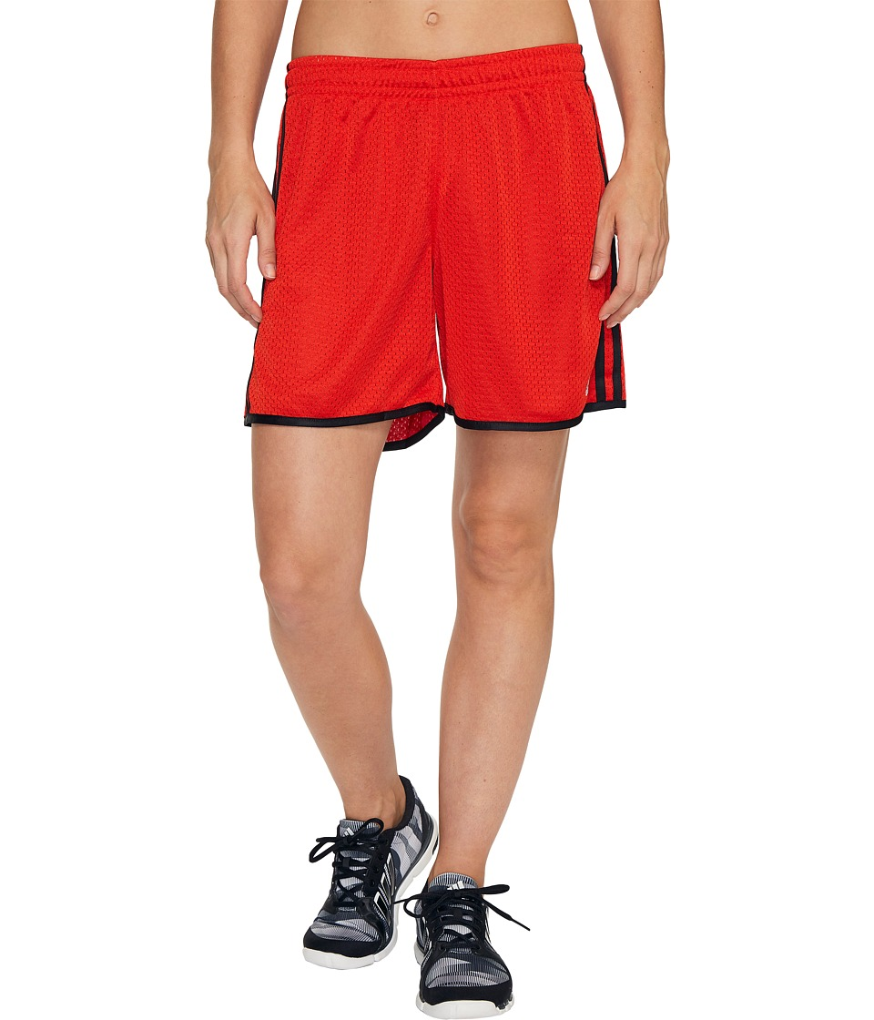 adidas - On Court Mesh Shorts (Core Red/Black/Matte Silver) Women's Shorts