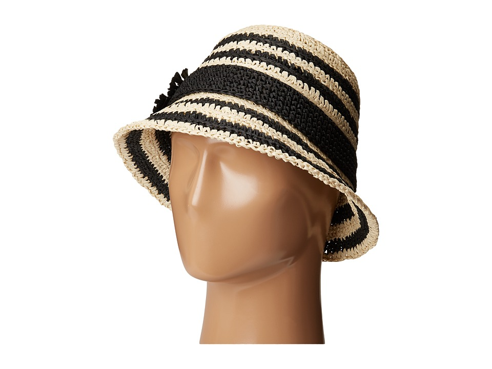 Kate Spade New York - Crochet Crushable Striped Cloche (Natural/Black) Traditional Hats