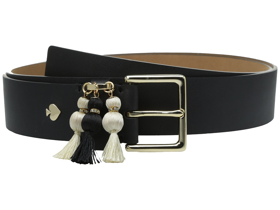 Kate Spade New York - 1 1/2 Calf Belt w/ Triple Tassel (Black/Cream) Women's Belts