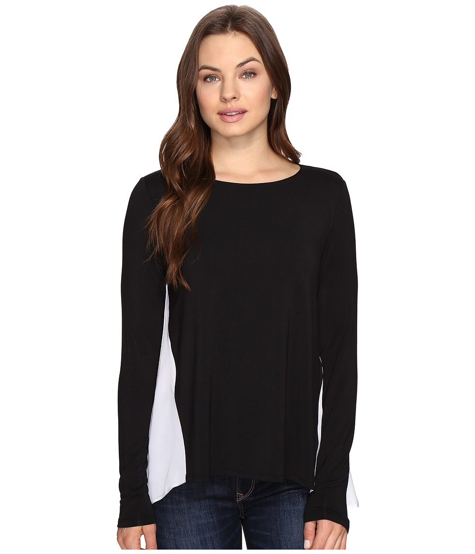 HEATHER - Silk Pleat Back Swing Top (Black/White) Women's Clothing