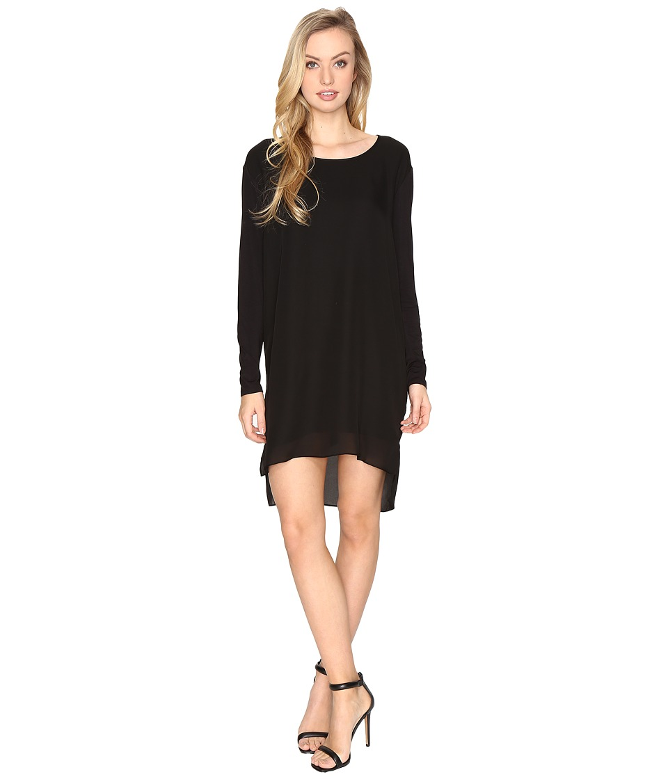 HEATHER - Long Sleeve Silk Layered Slouchy Dress (Black) Women's Dress