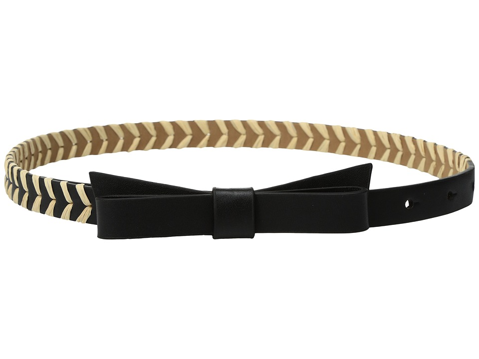 Kate Spade New York - 5/8 Calf Bow Belt w/ Straw Detail (Black/Natural) Women's Belts