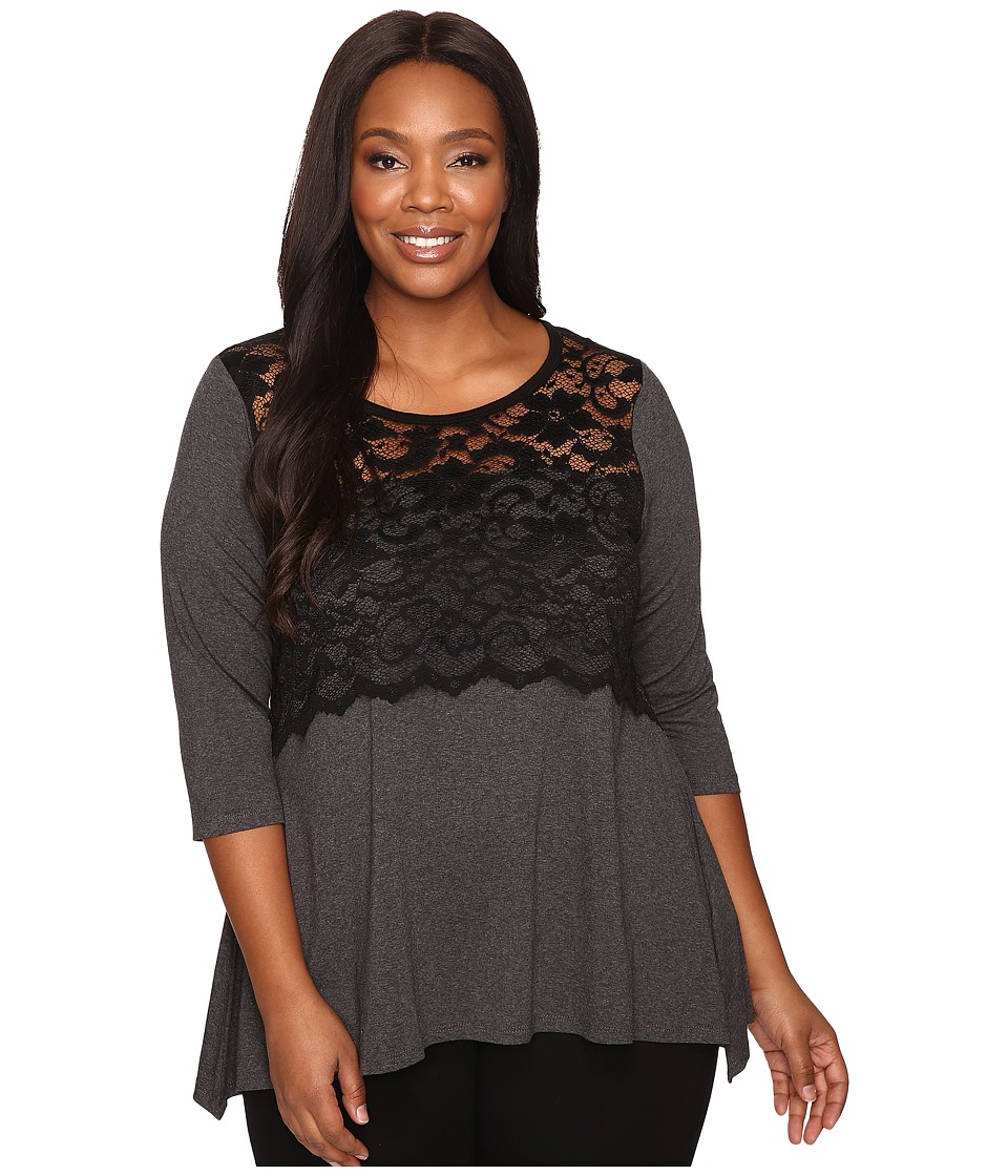Karen Kane Plus - Plus Size Lace Overlay Handkerchief Top (Dark Heather Grey/Black) Women's Clothing