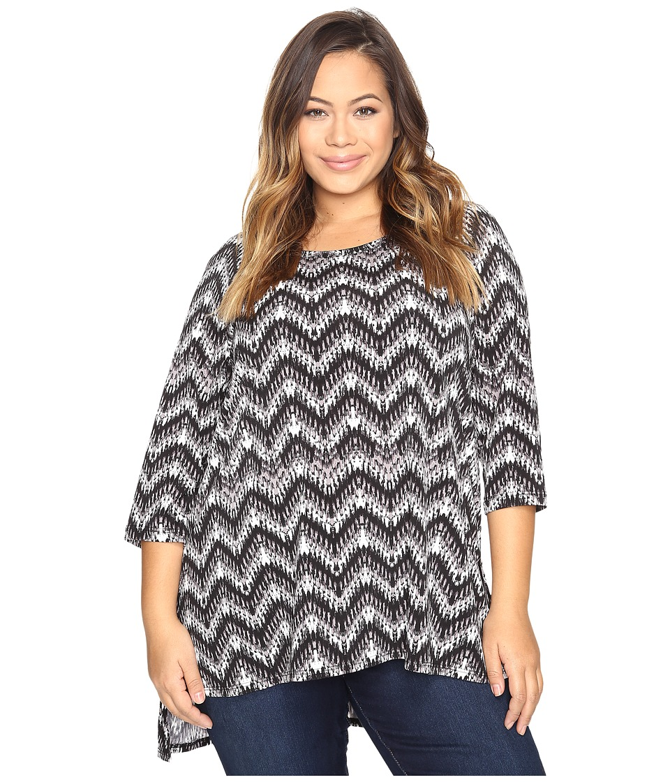 Karen Kane Plus - Plus Size Hi-Lo Raglan Sleeve Top (Print) Women's Clothing