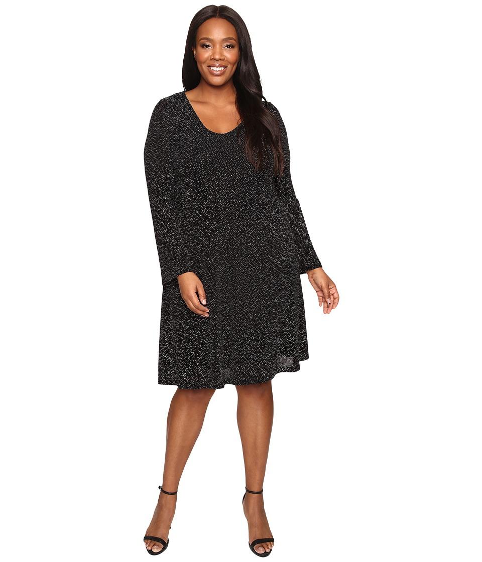 Karen Kane Plus - Plus Size Diamond Dust Taylor Dress (Black/Silver) Women's Dress