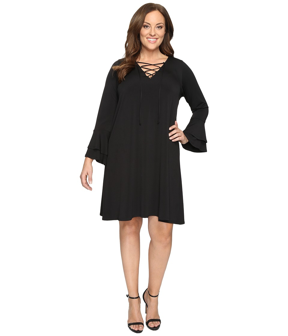 Karen Kane Plus - Plus Size Lace-Up Flare Sleeve Dress (Black) Women's Dress