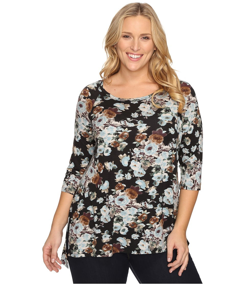 Karen Kane Plus - Plus Size Blue Floral High-Low Top (Floral Print) Women's Clothing