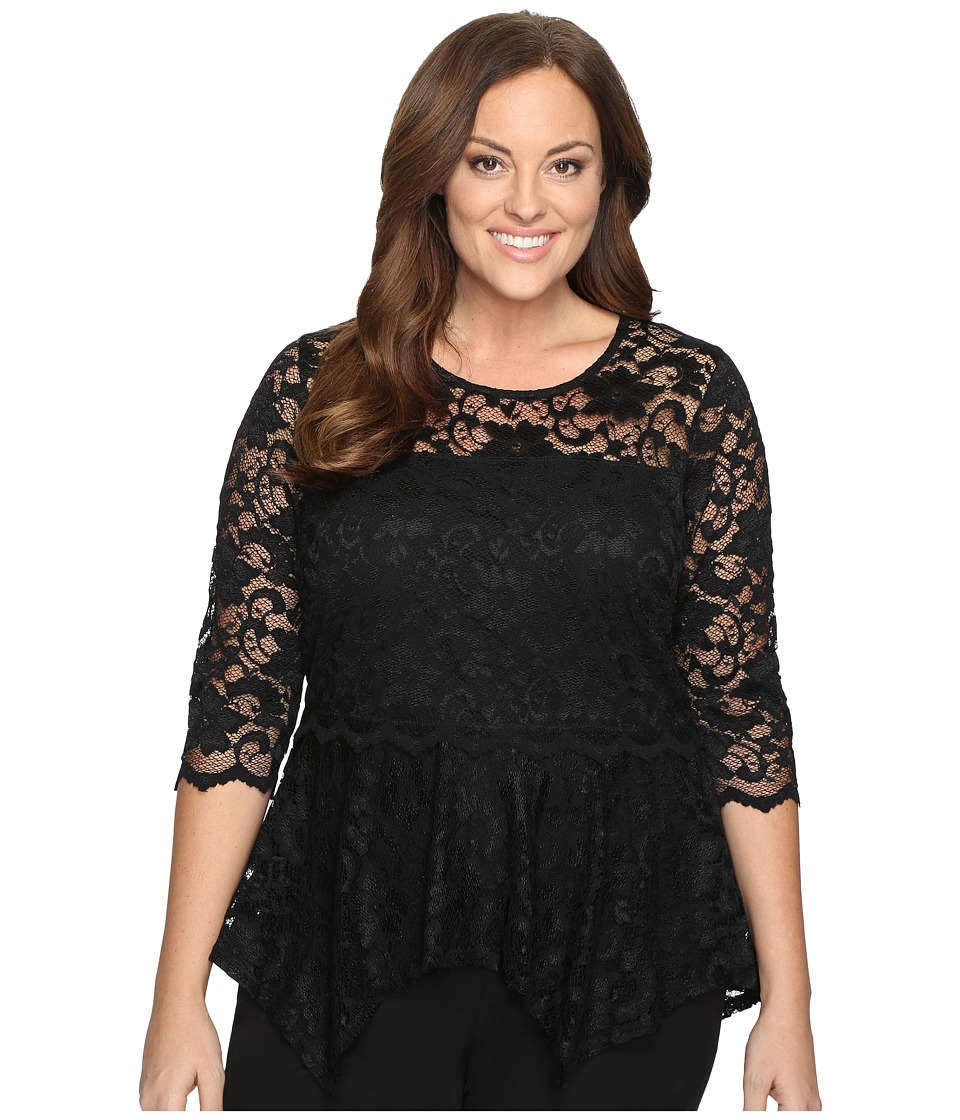 Karen Kane Plus - Plus Size Lace Peplum Top (Black) Women's Clothing