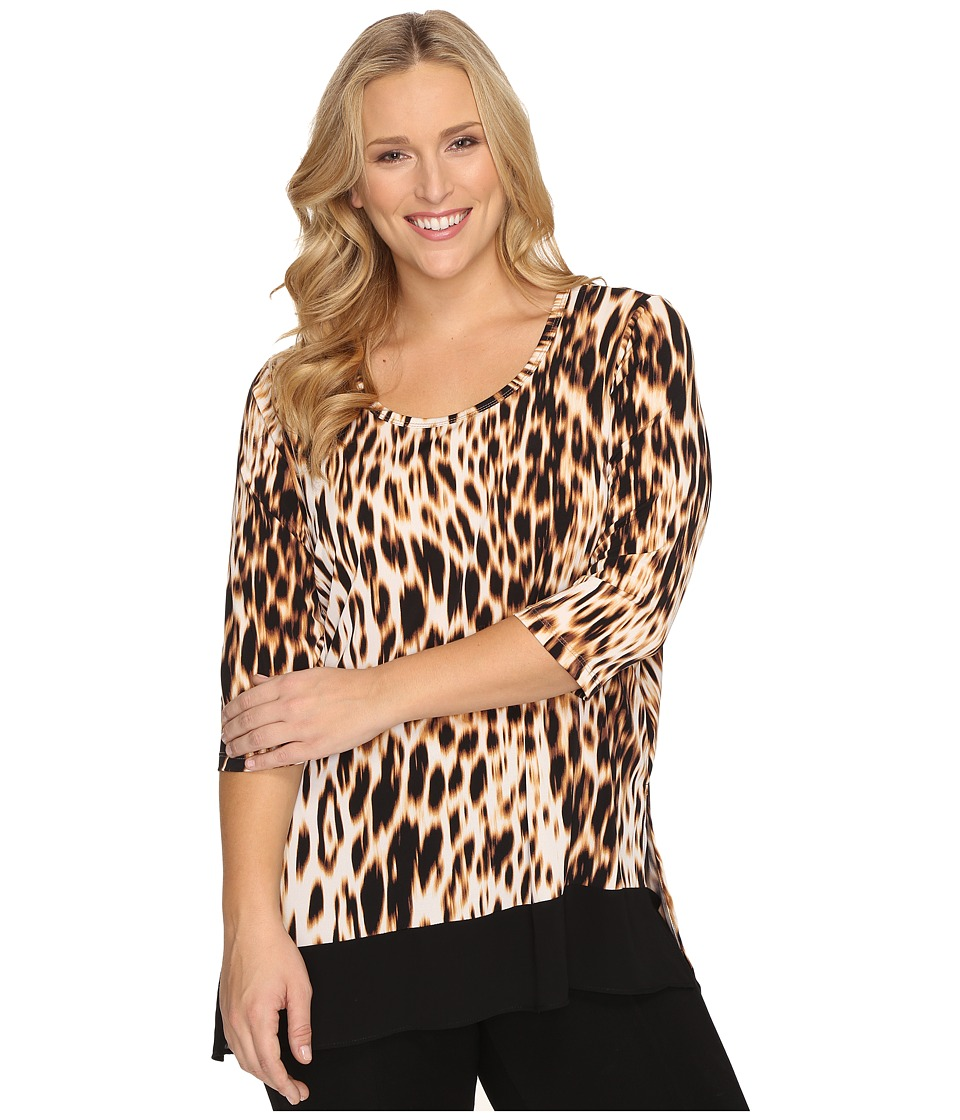 Karen Kane Plus Plus Size 3/4 Sleeve Contrast Hem Tunic Top (Leopard Print) Women's Blouse