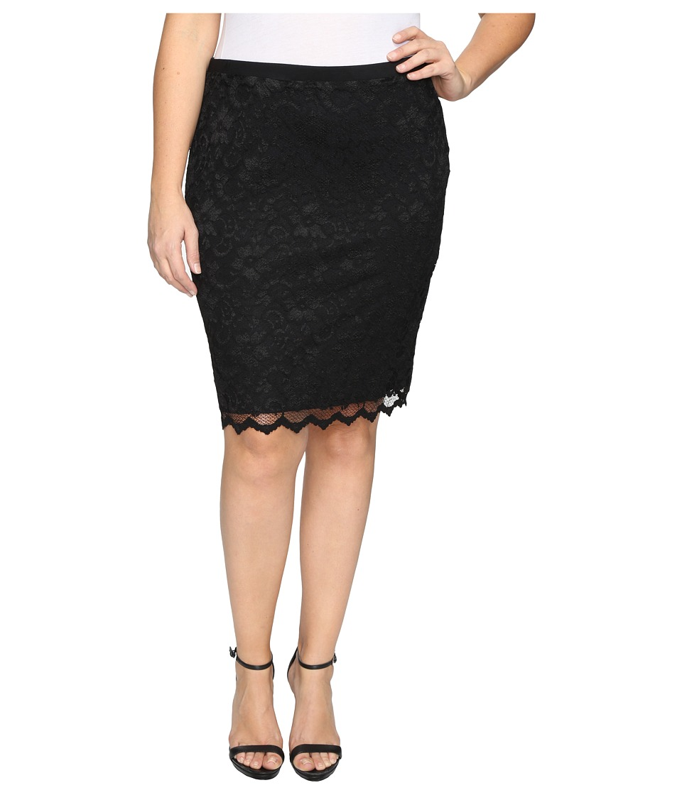 Karen Kane Plus - Plus Size Lace Pencil Skirt (Black) Women's Skirt