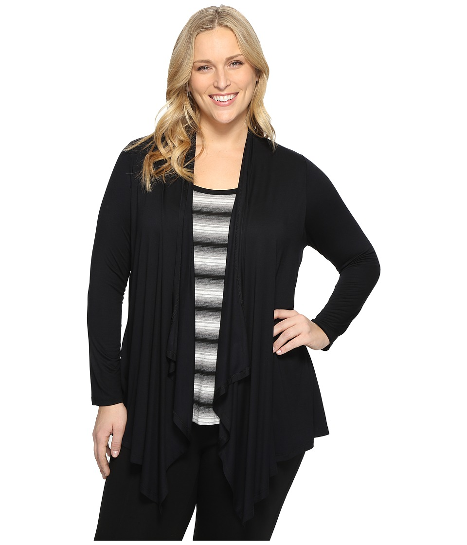 Karen Kane Plus - Plus Size Tank Cardigan Combo (Black) Women's Sleeveless