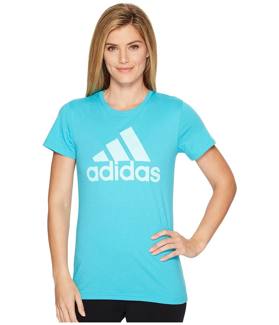 adidas - Badge Of Sport Logo Tee (Energy Blue/Clear Aqua) Women's T Shirt