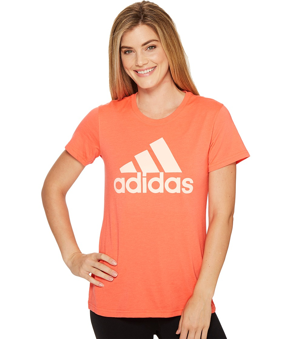 adidas - Badge Of Sport Logo Tee (Easy Coral/Haze Coral) Women's T Shirt
