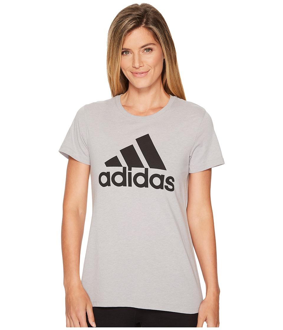 adidas - Badge Of Sport Logo Tee (Medium Grey Heather/Black) Women's T Shirt