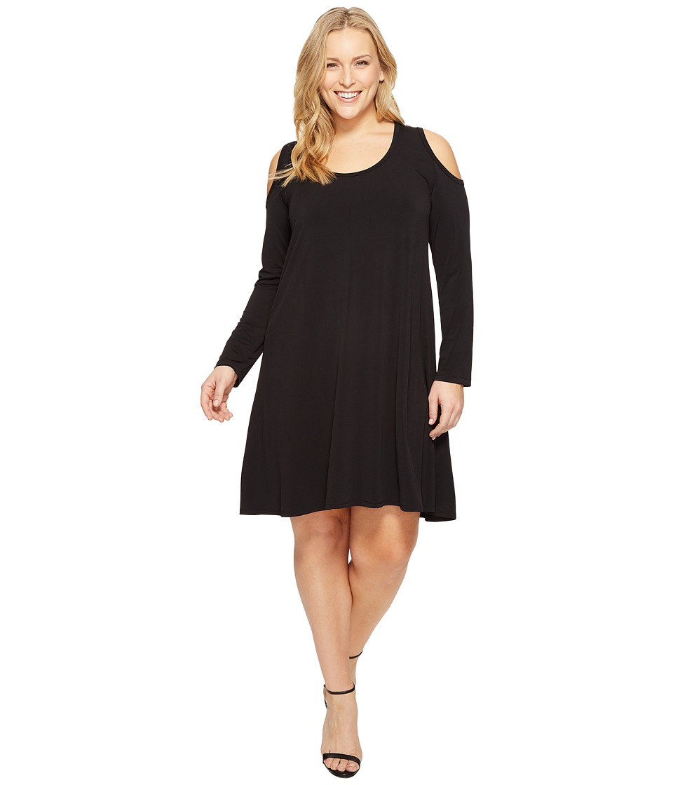 Karen Kane Plus - Plus Size Cold Shoulder Trapeze Dress (Black) Women's Dress