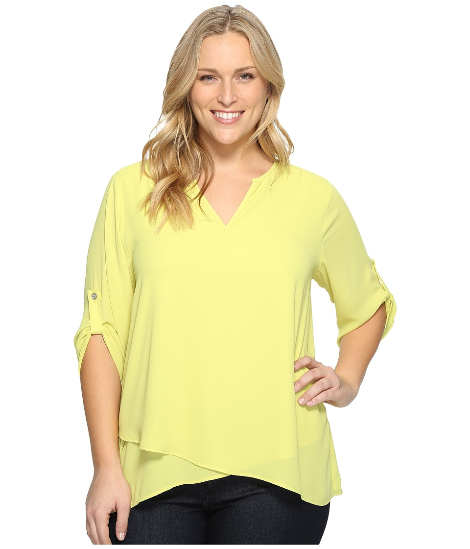 Karen Kane Plus - Plus Size Asymmetric Hem Wrap Top (Lime) Women's Blouse