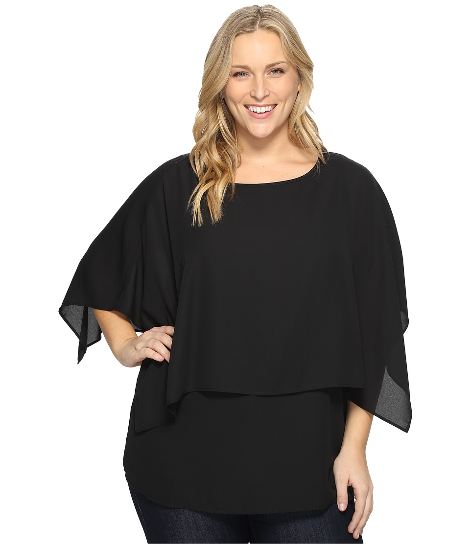 Karen Kane Plus - Plus Size Double Layer Top (Black) Women's Blouse