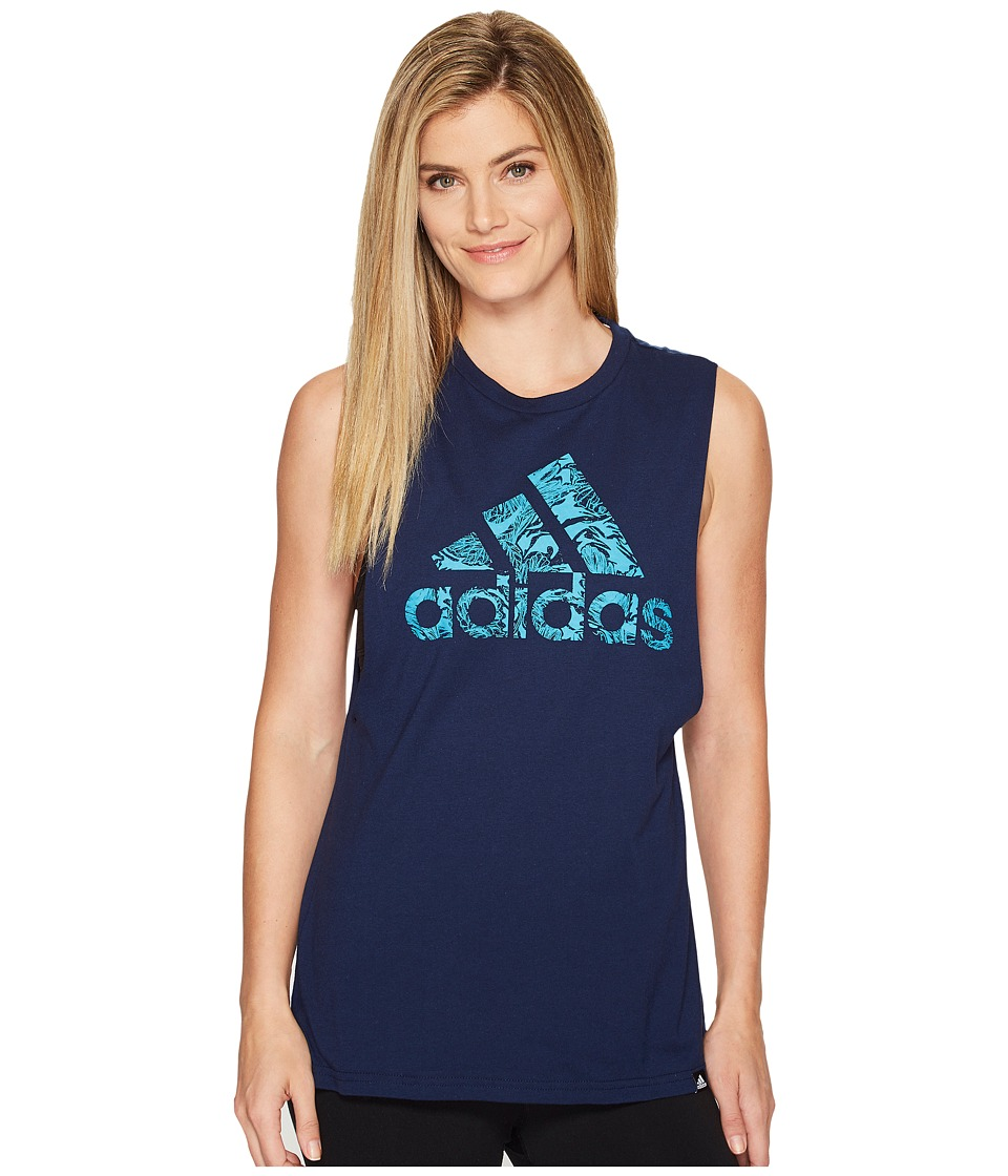 adidas - Badge Of Sport Floral Muscle Tank Top (Collegiate Navy/Energy Blue) Women's Sleeveless