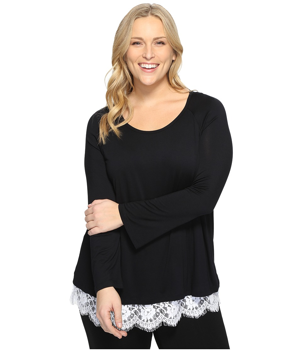 Karen Kane Plus - Plus Size Lace Hem Boat Neck Top (Black/Off-White) Women's Blouse