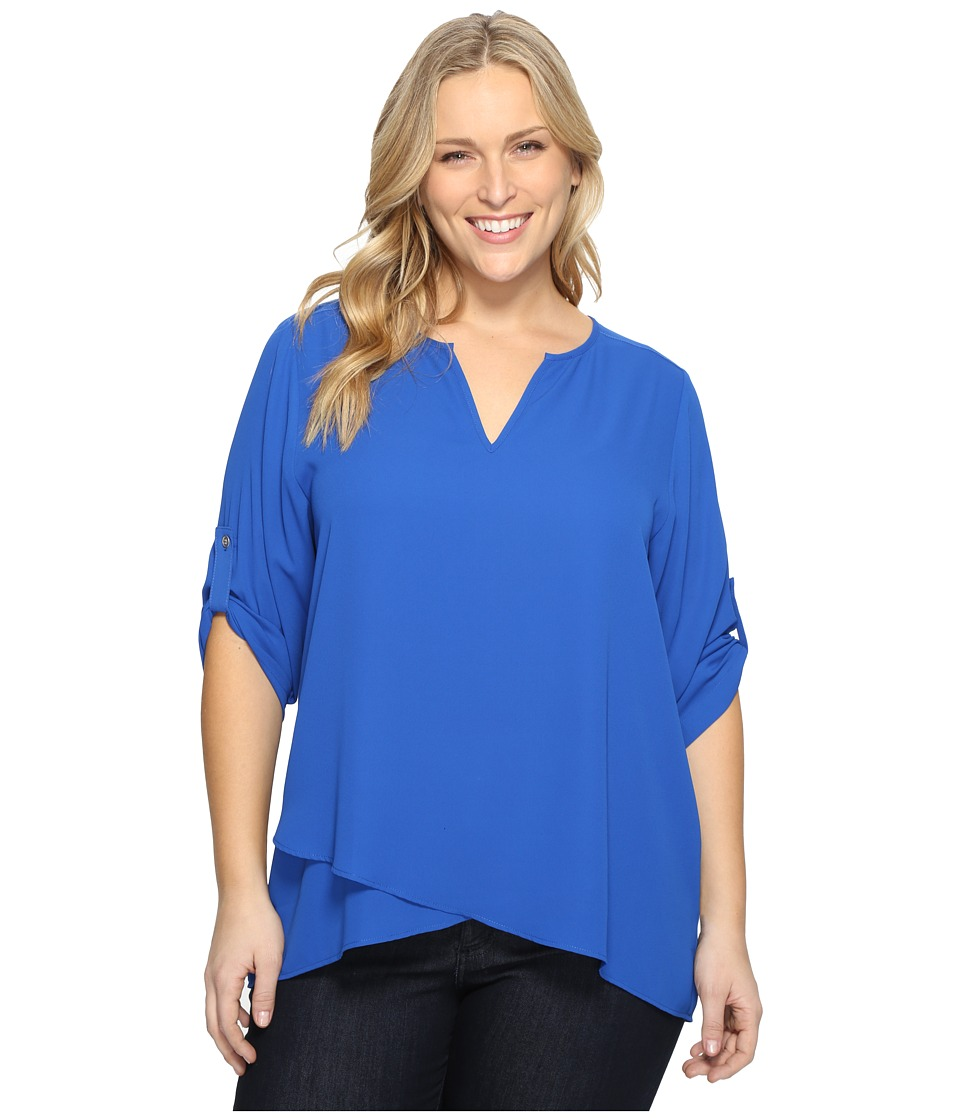Karen Kane Plus - Plus Size Asymmetric Hem Wrap Top (Bright Blue) Women's Blouse